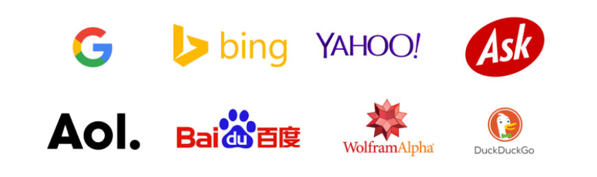 Logos for latest top 10 popular search engines Spike Design optimise clients websites for in Corby, Northamptonshire