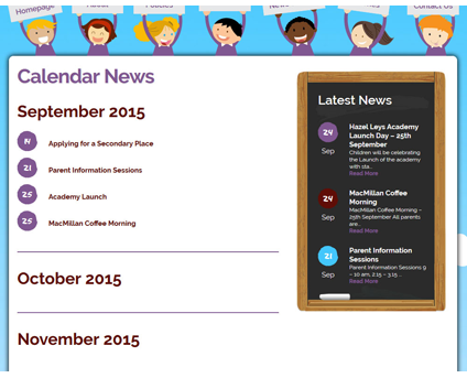 Calender and Dates on School Websites Northampton