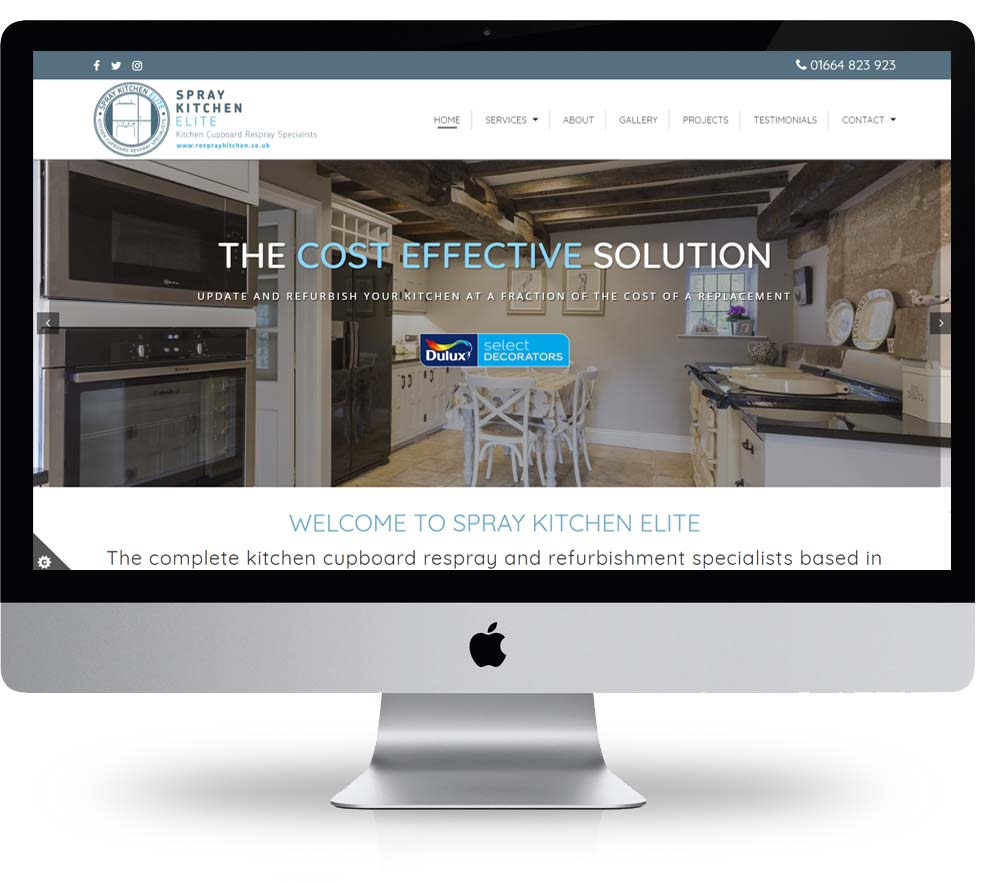 Kitchen respray website design built and hosted by spike dm